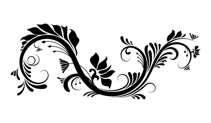 Swirl And Flowers Vector Graphic Floral Stencil Vector Art Design Henna Stencils