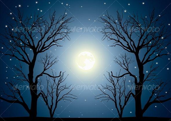 trees night moon blotch - photo #16