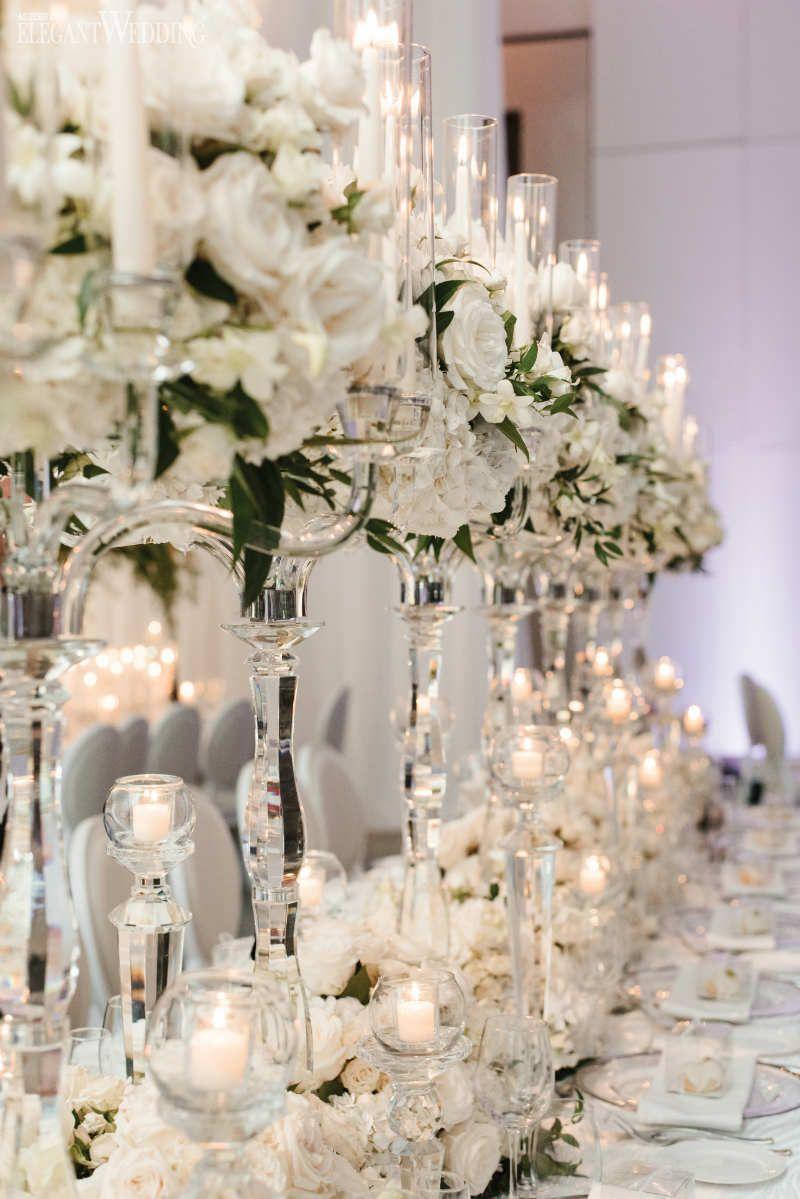 Romantic All White Wedding Reception Elegantwedding Ca White Weddings Reception White Wedding Table Setting White Wedding Decorations