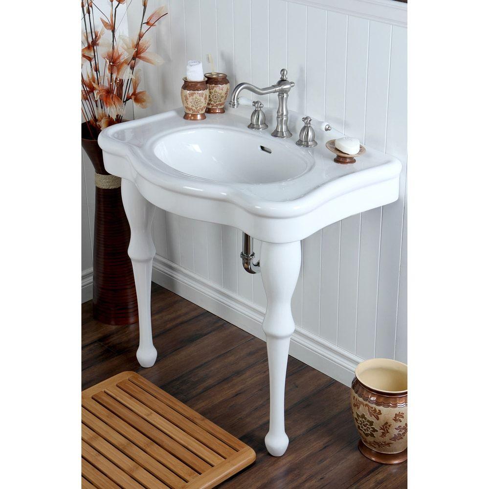 Vintage 32-inch for 8-inch Centers Wall Mount Pedestal Bathroom Sink ...
