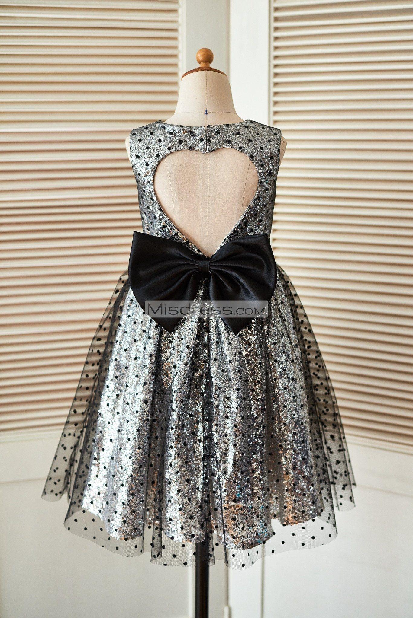 28244c810 Silver Sequin Black Polka Dot Tulle Wedding Flower Girl Dress with Keyhole  Back SKU: K1003404 Buy Now: #flowergirldress #wedding #tulleskirt # ...