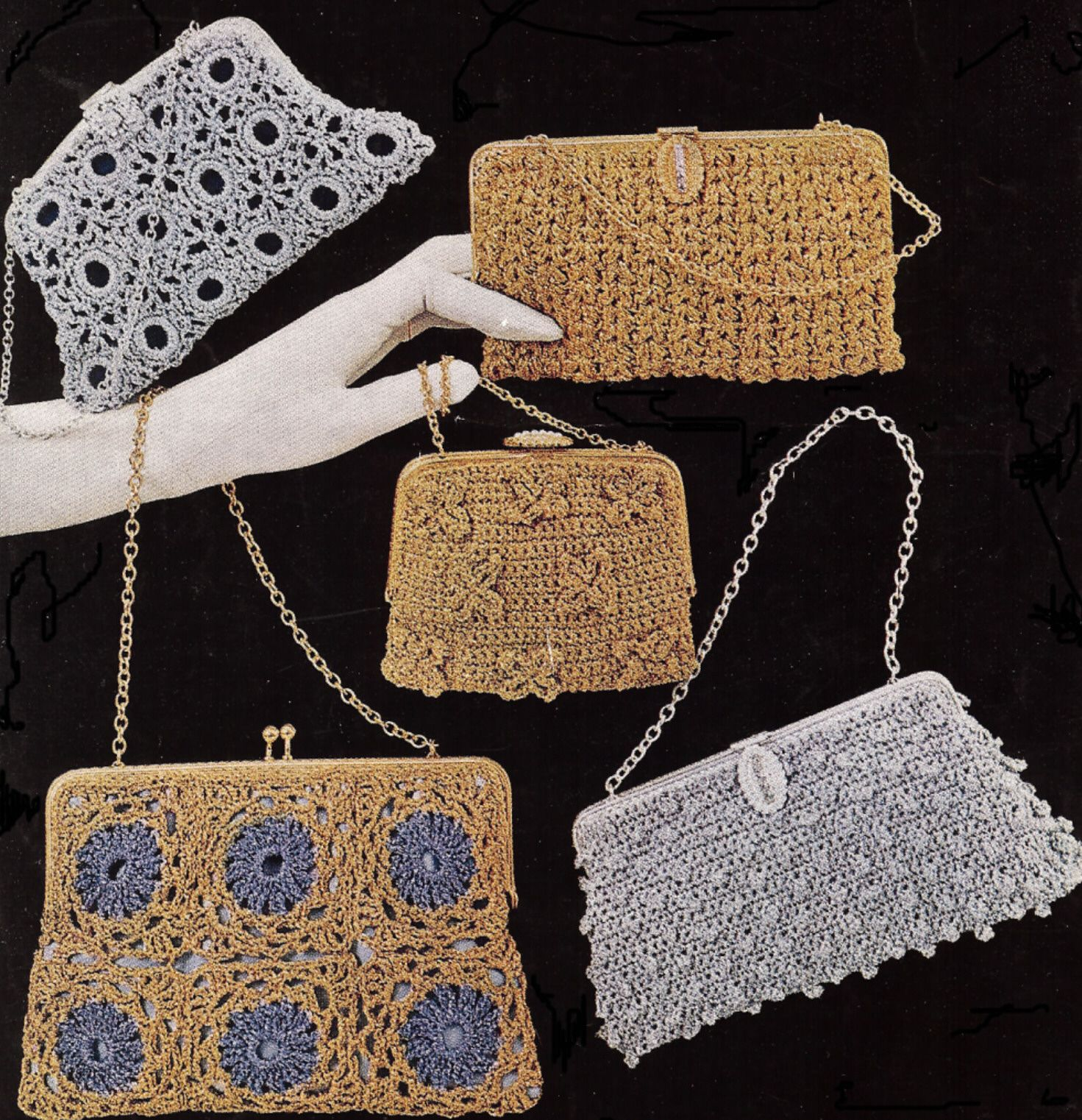 5 Vintage Crochet Holiday Party Evening Bag Patterns | Crochet ...