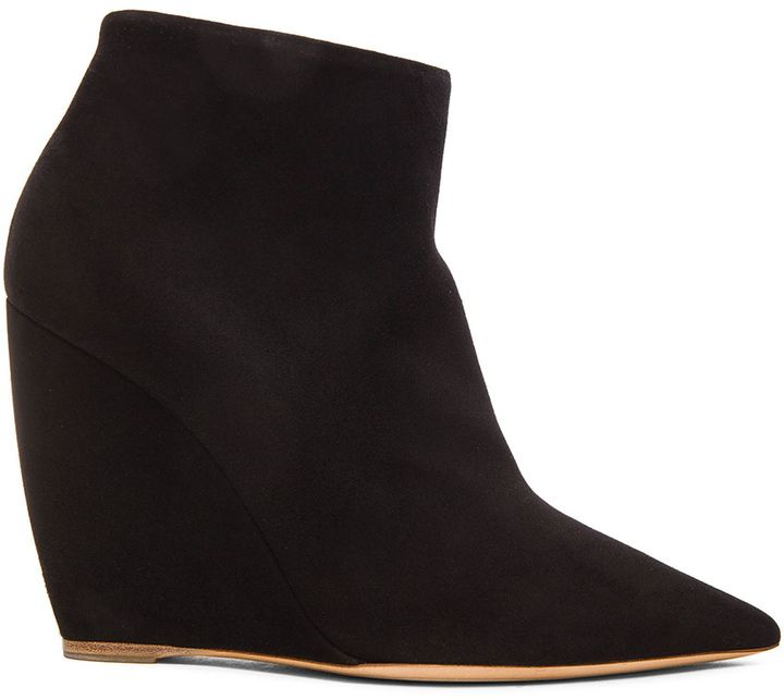 $895, Nicholas Kirkwood 105mm Lizy Suede Ankle Booties. Sold by Forward By Elyse Walker. Click for more info: https://lookastic.com/women/shop_items/344743/redirect