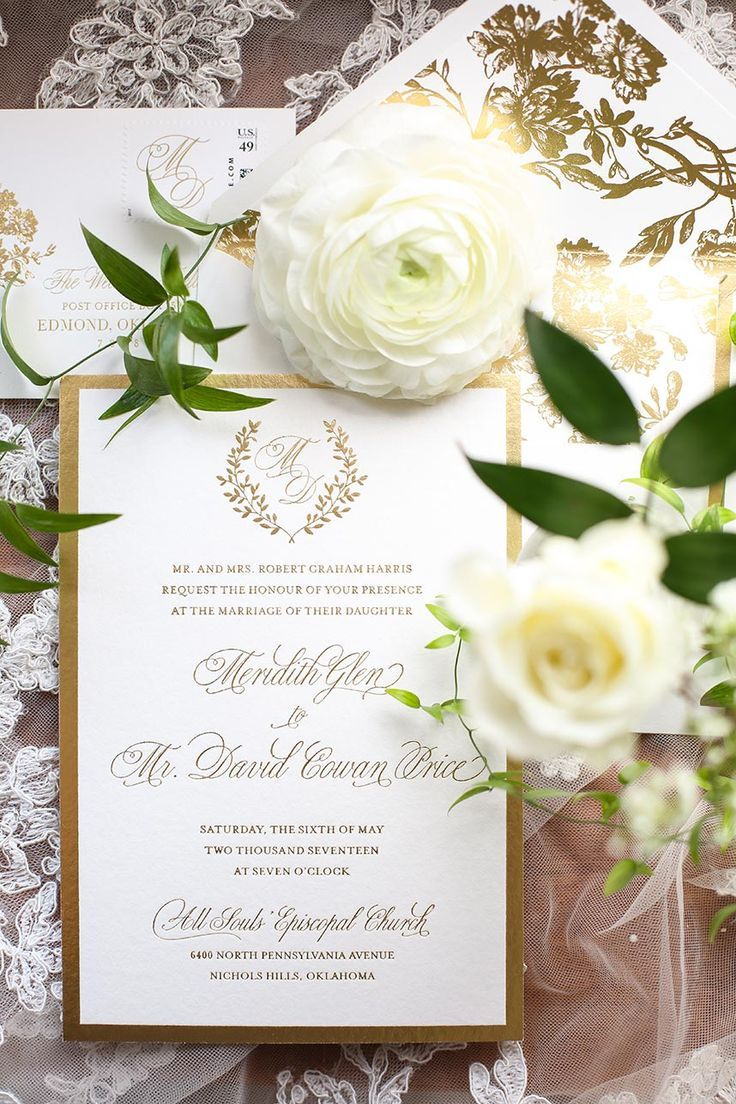 Classic glam country club wedding invitations with gold detailing
