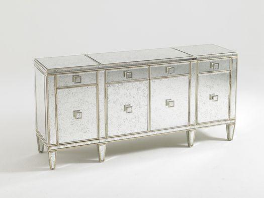 Aquarius Polaris Mirrored Buffet with antique gold leaf and mirror - Lexington Home Brands