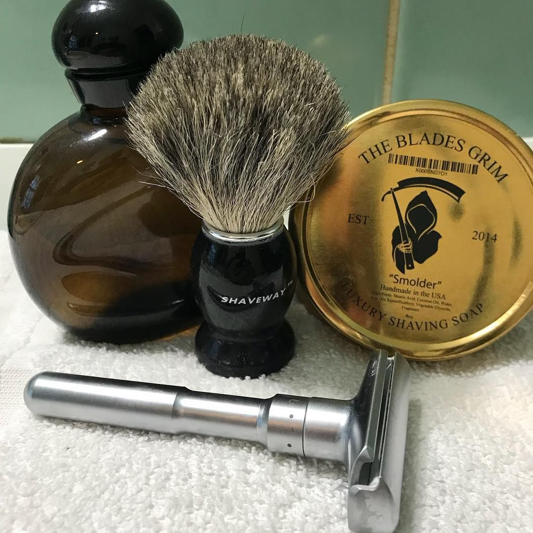 Shave Of The Day The Blades Grim Smolder Soap Shaveway Badger Hair Brush Qshave Adjustable Double Edge Razor And Finished Shaving Wet Shaving Hair Brush