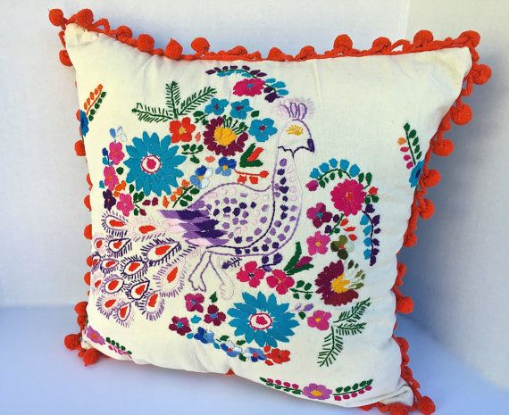Mexican throw pillow embroidered dress