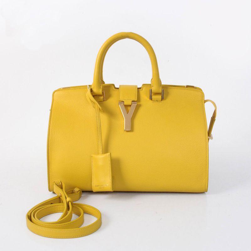 Yves Saint Lau 2017 Small Clafskin Cabas Chyc Bag 8336 Yellow