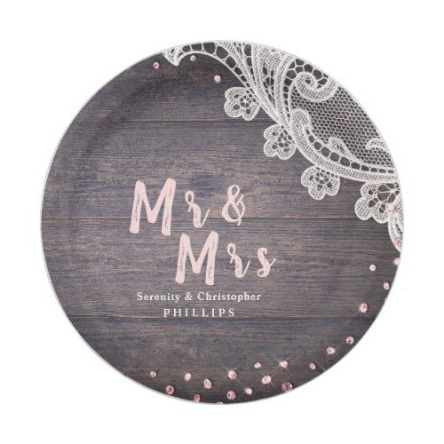 Lace wood blush glitter Mr and Mrs rustic wedding Paper Plate ...