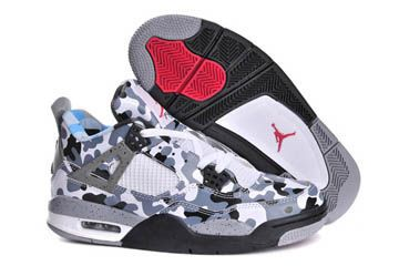 Nike Air Jordan 4 Mens Shoes Camouflage Black Grey White