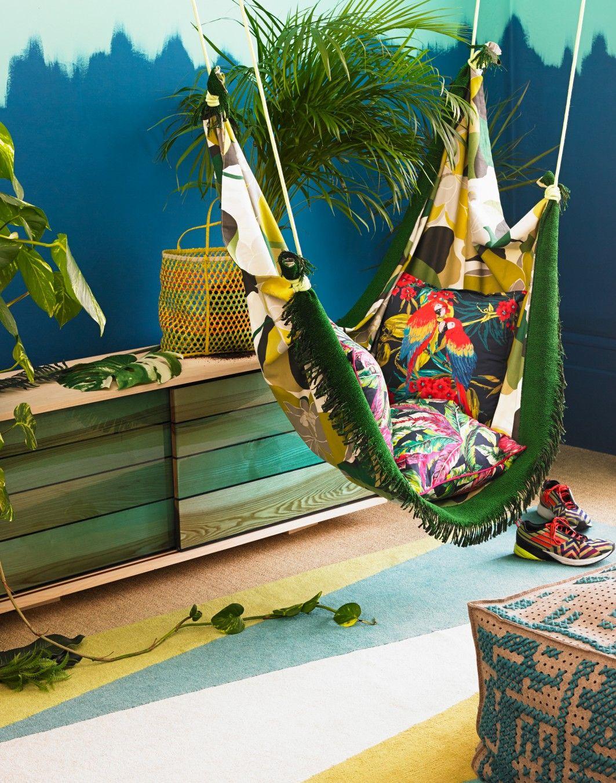 Modern ethnic bedroom corner with indoor hammock rear extension