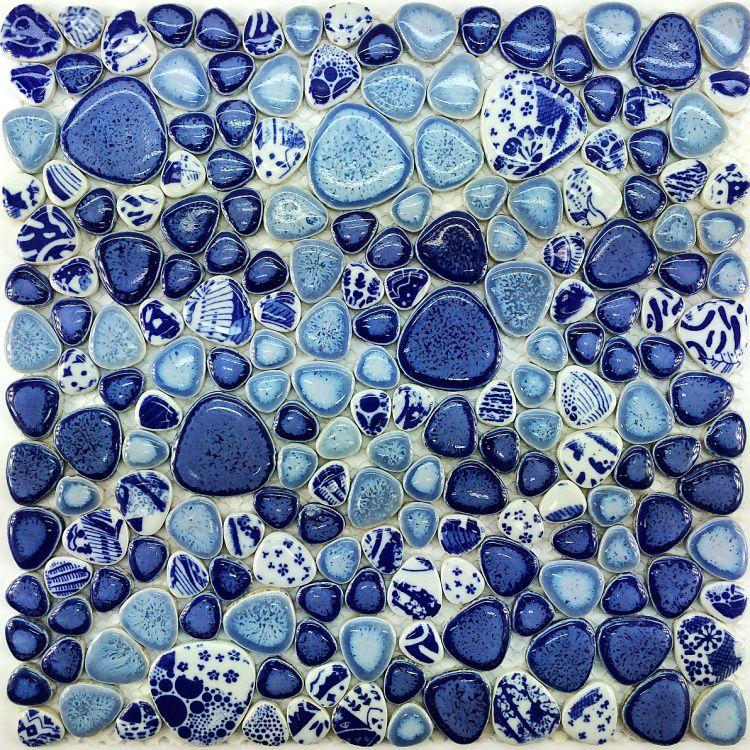Glazed Porcelain Tile Gl Pebble Mosaic Ppmt043 Flooring Tiles Blue Backsplash Bathroom Wall 16 89