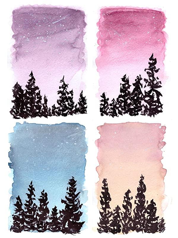 Sonnenuntergang im Wald Aquarell Postkarten 4er Set 4 Original Gemälde Kunst Sonnenaufgang Postkarten Bunte Karten Druck Landschaft Nacht Natur