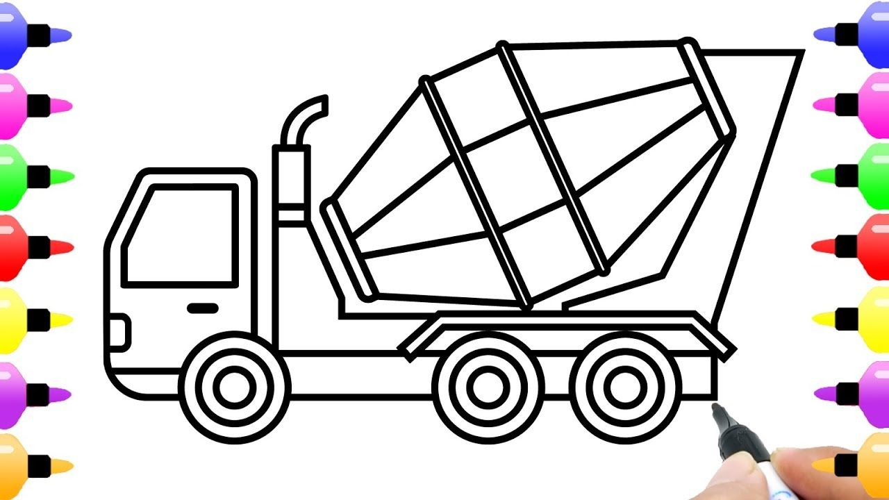How To Draw Concrete Mixer Truck For Kid Truck Coloring Book For Kids Truck Coloring Pages Police Truck Coloring Pages