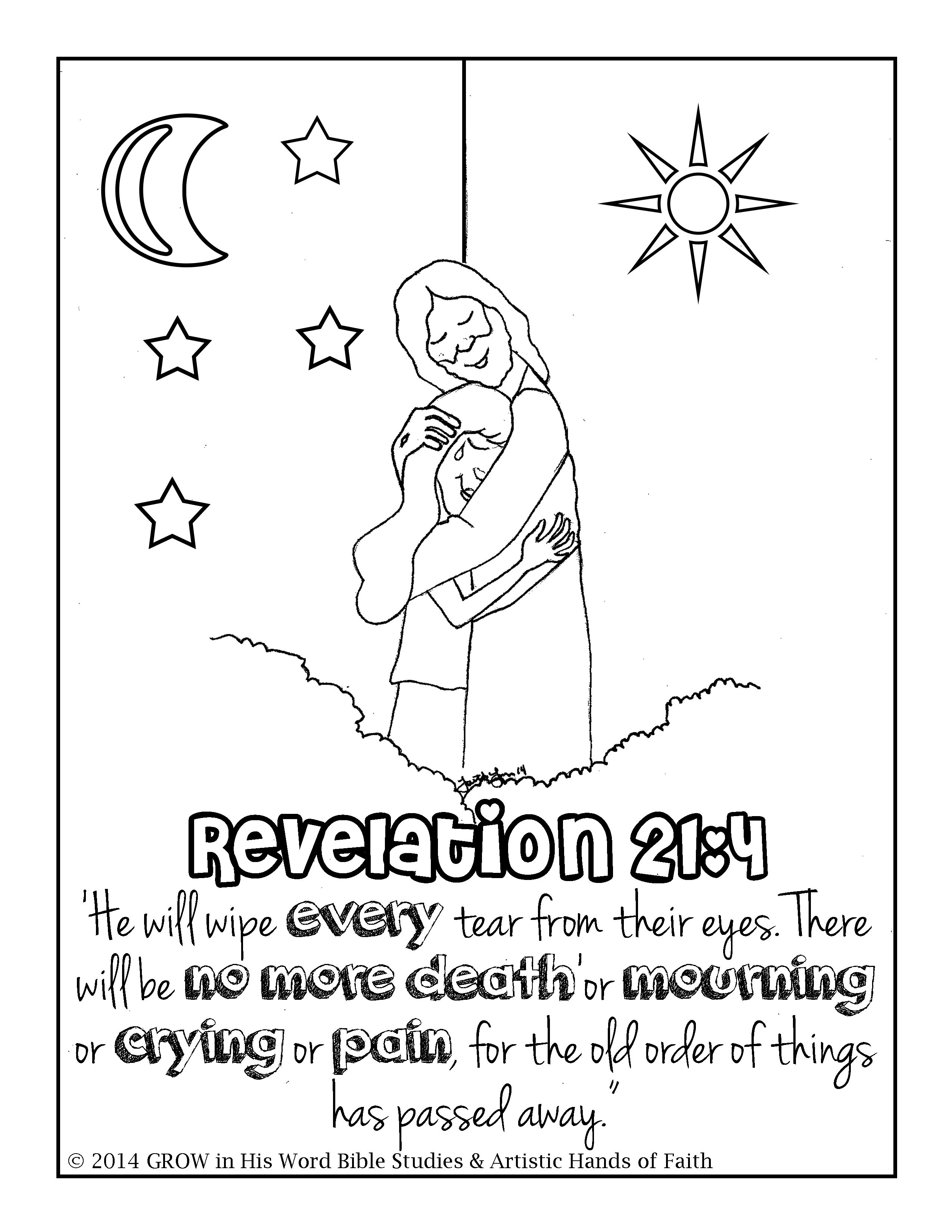 Revelation 21:4 Children's Coloring Page at www