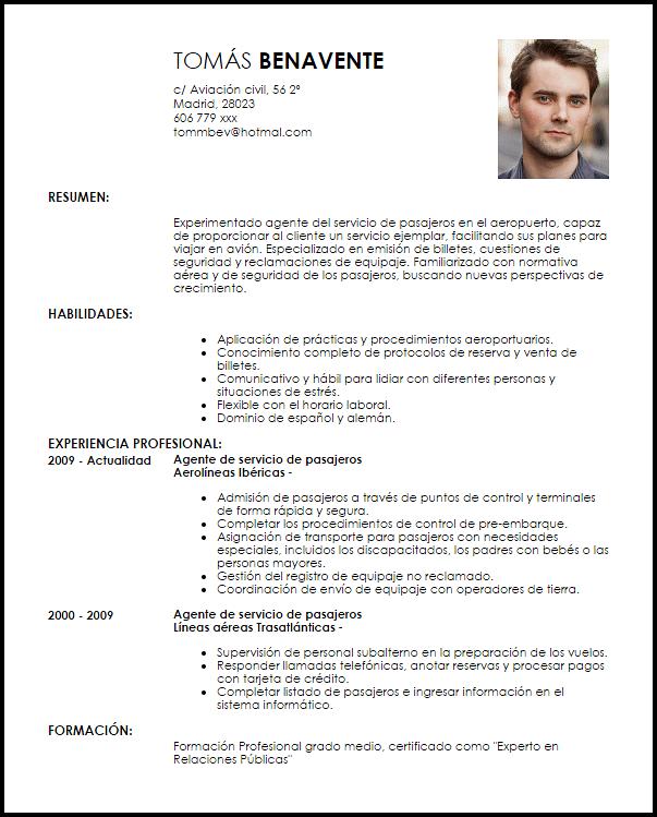 Modelo Curriculum Vitae Agente De Servicio De Pasajeros En El Aeropuerto Livecareer Modelos De Curriculum Vitae Curriculum Vitae Ingeniero Curriculum Vitae