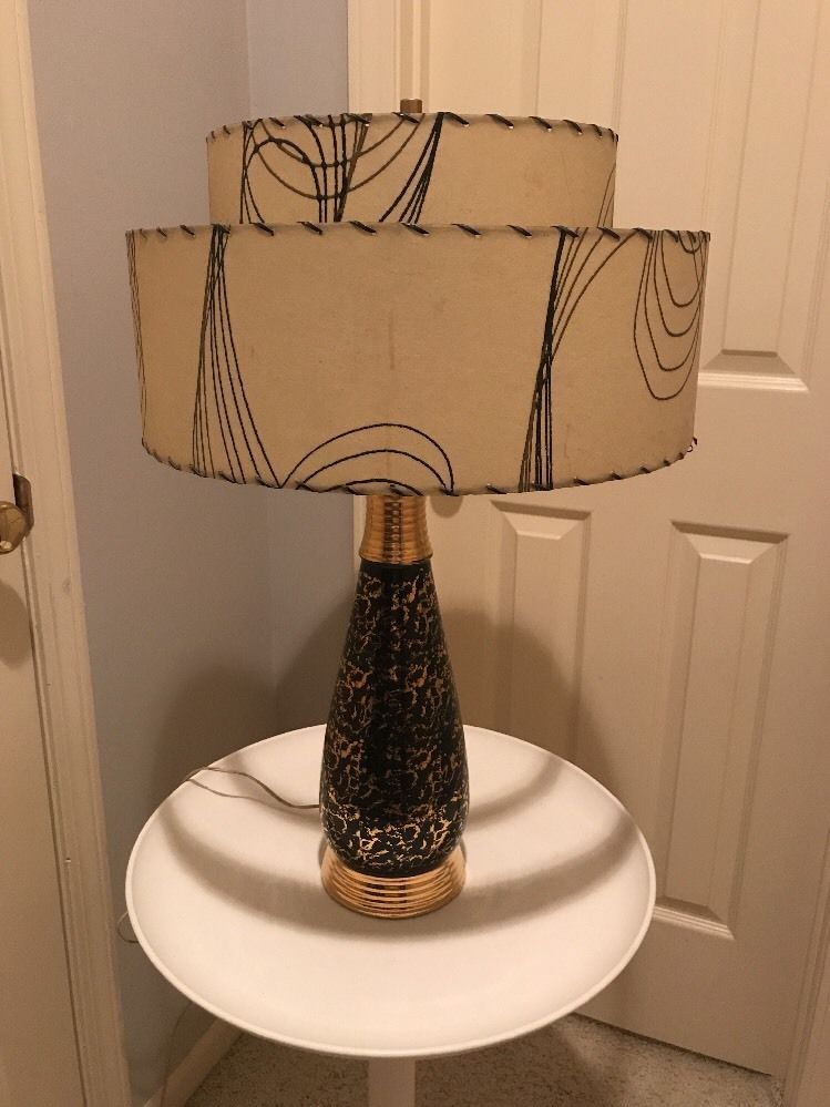 Mid Century Modern 1950s Table Lamp With Double Fiberglass Lampshade Collectibles Vintage Retro Mid Century 1950s Eb Table Lamp Lamp Mid Century Modern