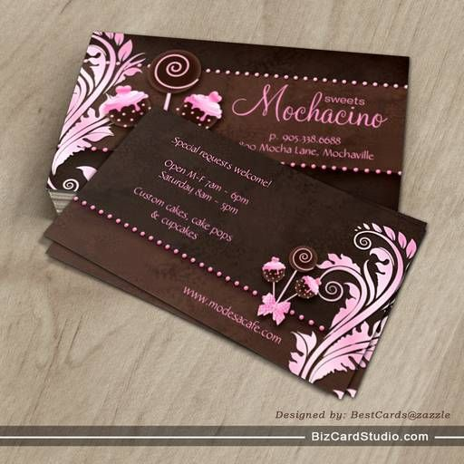 cake pops business card bakery pink brown vintage