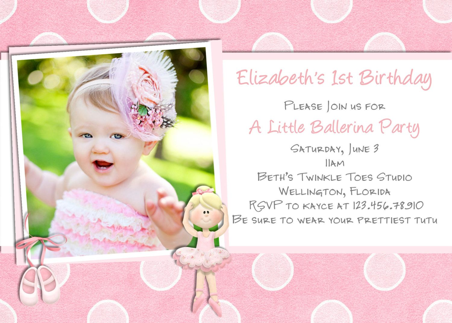 Ballerina Birthday Invitation Photo Card Ballet Invite Printable – Birthday Invitations Cards Designs