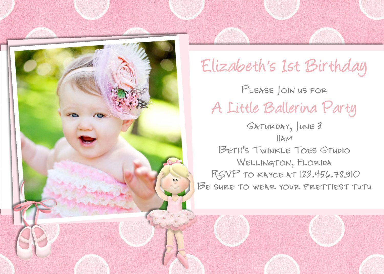 Ballerina Birthday Invitation - Photo Card Ballet Invite Printable ...