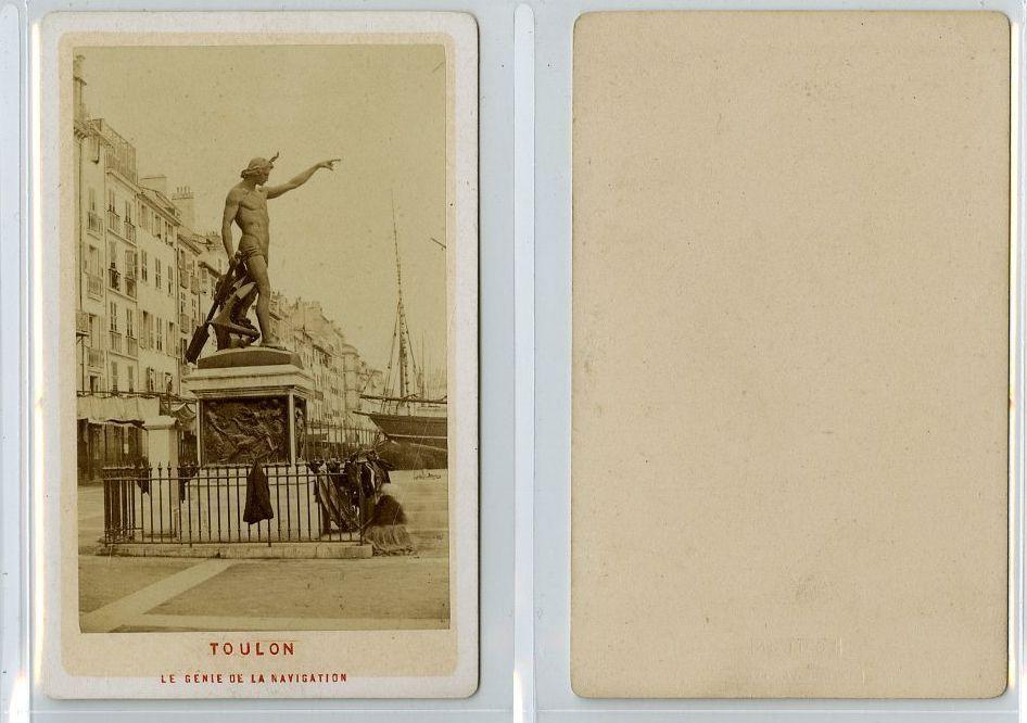 France Toulon LE Genie DE LA Navigation CDV Vintage Albumen Carte Visite