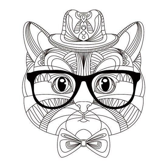 Gato Hipster Mandalas Para Colorear Gatito Para Colorear