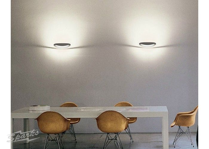 Artemide mesmeri halo polished chrome wall light curved diffuser