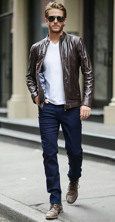 Leather Jacket Jeans White Tee Men In Leather Mens Fashion