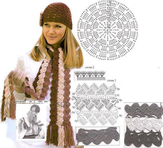 Patrón #1085:Bufanda y Gorro a Crochet | CTejidas [Crochet y Dos ...
