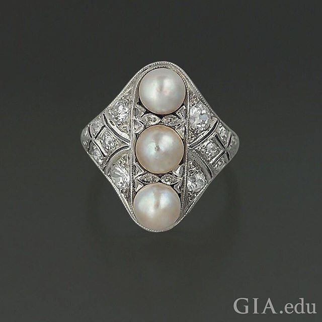 #Edwardian jewelry designers often paired #diamonds and #pearls to create a sense of majesty and show the wealth of the wearer. When set in platinum, these gems were a signature style of Imperial jewels at the turn of the 20th century. Photo: Elizabeth Schrader/GIA