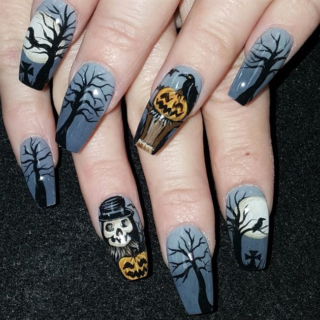Nail Art 2743 Best Nail Art Designs Gallery Bestartnails Com Pumpkin Nails Halloween Nails Halloween Nail Designs