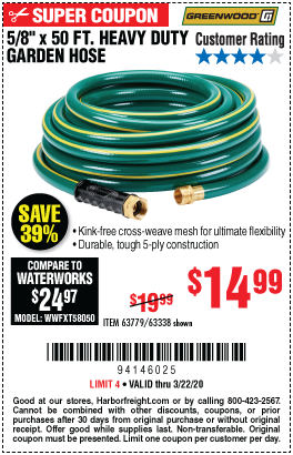 Greenwood 5 8 In X 50 Ft Heavy Duty Garden Hose For 14 99 In 2020 Harbor Freight Tools Garden Hose Greenwood