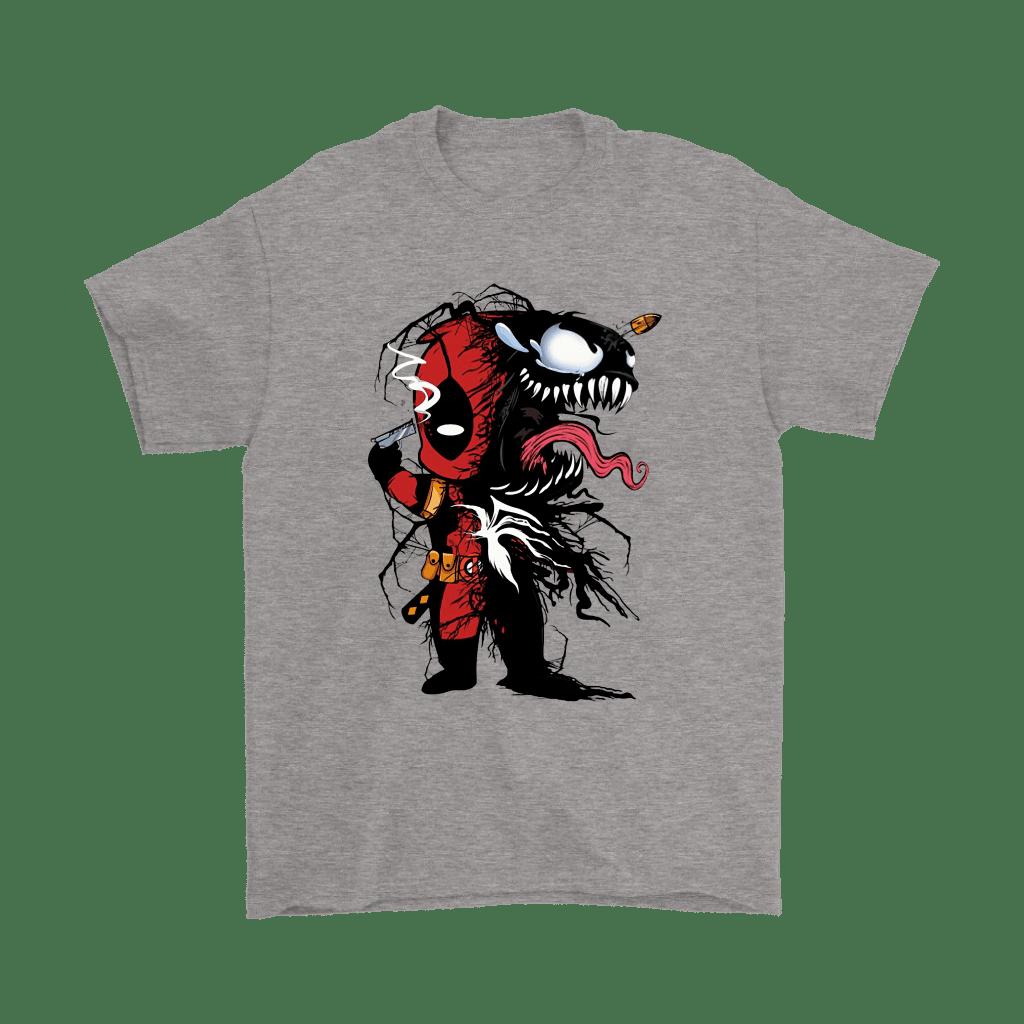 Chibi Deadpool x Venom Bullet Through Head Mashup Shirts in