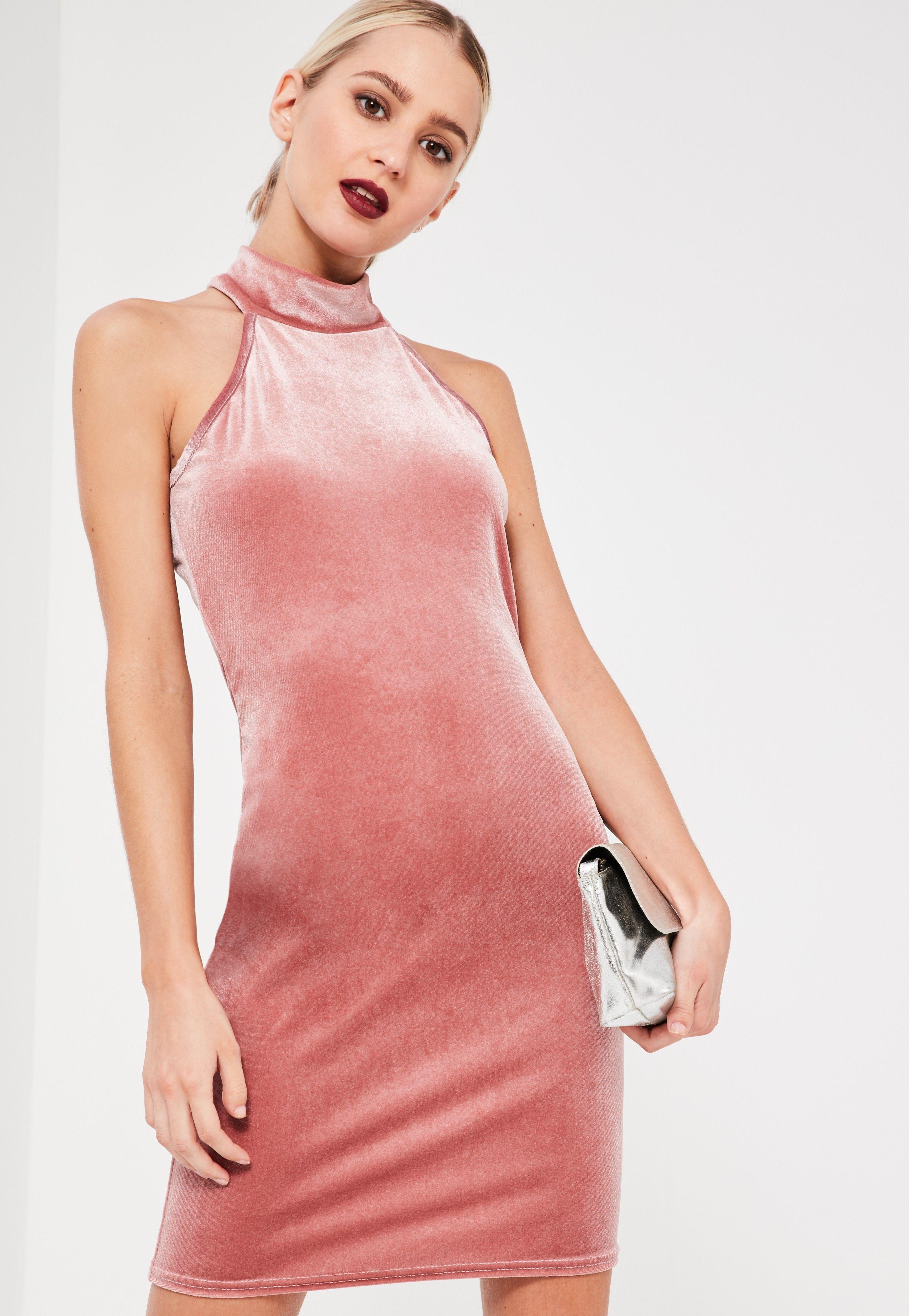 Pink High Neck Velvet Sleeveless Bodycon Dress