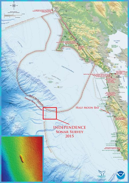 Credit: NOAA's Office of Ocean Exploration and Research and NOAA's Office of National Marine Sanctuaries / Map depicting the survey location of the independence. The shipwreck site of the former aircraft carrier, Independence, is located in the northern region of Monterey Bay National Marine Sanctuary.