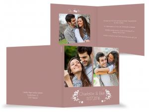 braune Hochzeitseinladung mit weißer Schrift und Foto