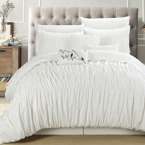 Chic Home Frances White Pleated And Ruffled 7 Piece Comforter Set