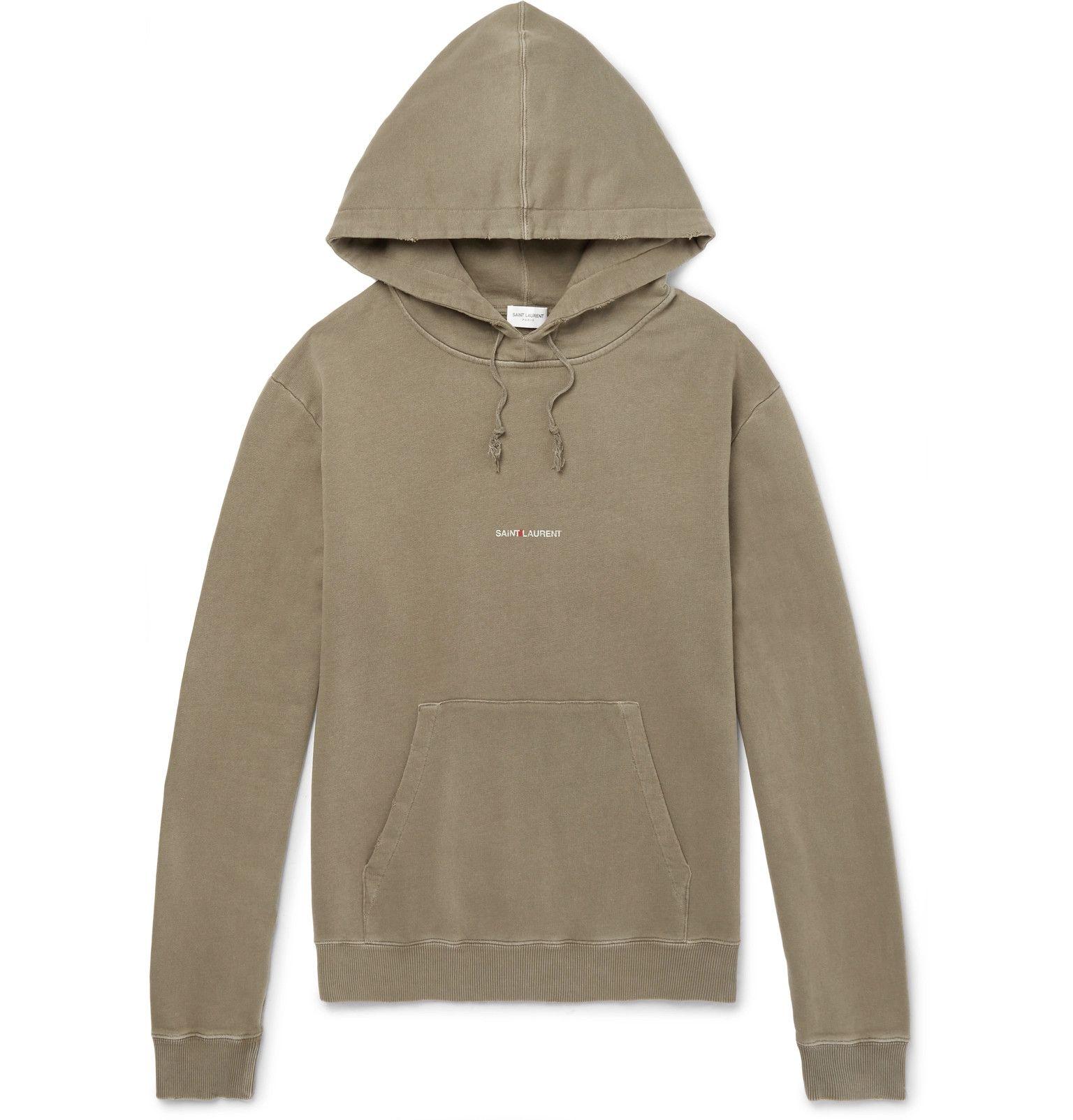 127d3427cb9 Saint Laurent Logo-Print Distressed Loopback Cotton-Jersey Hoodie |  Products | Mens designer hoodies, Hoodies, Cotton