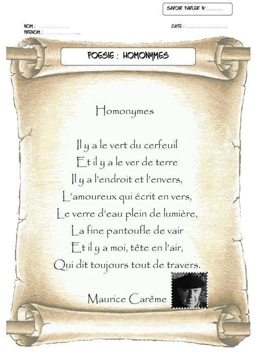 Poème De Maurice Carême Homonymes Maurice Careme
