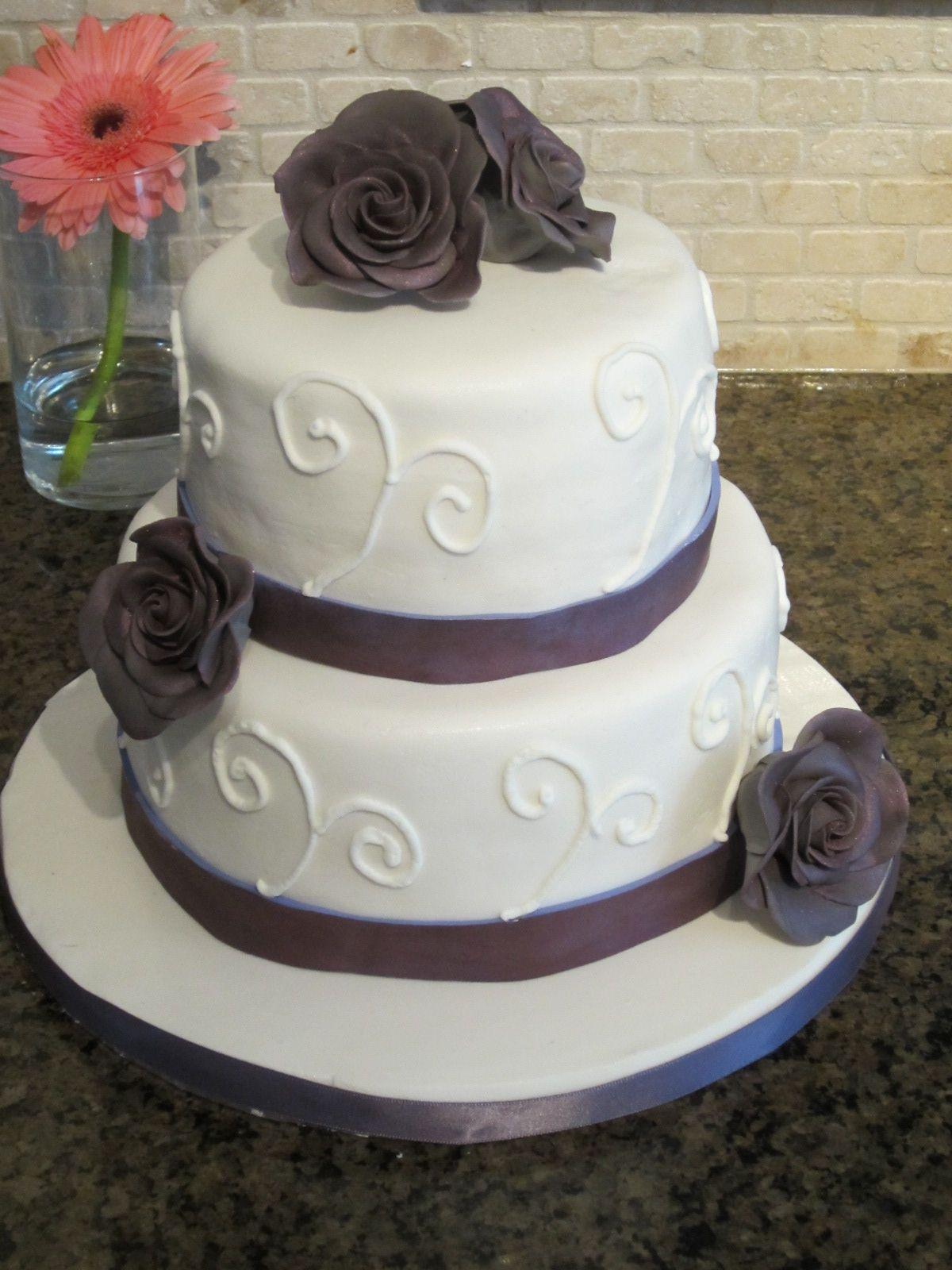 Small Wedding Cakes | Small Purple Rose Wedding Cake