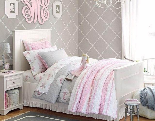 Mädchenzimmer in hellen beruhigenden Farben-Wandtapeten grau