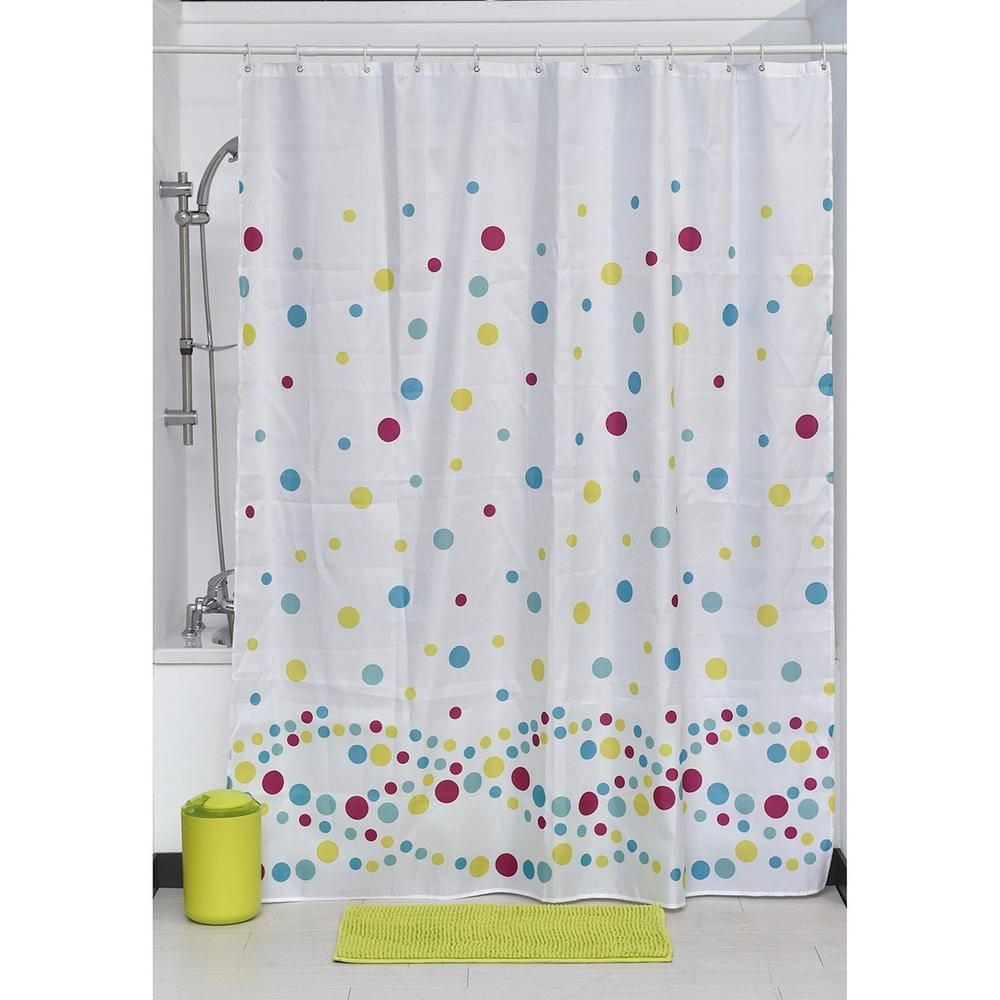 Printed Shower Curtain Polyester Fabric 71 In W X 79 In L Set 12 White Shower Rings Bubbles 1205487 Fabric Shower Curtains White Shower Curtains