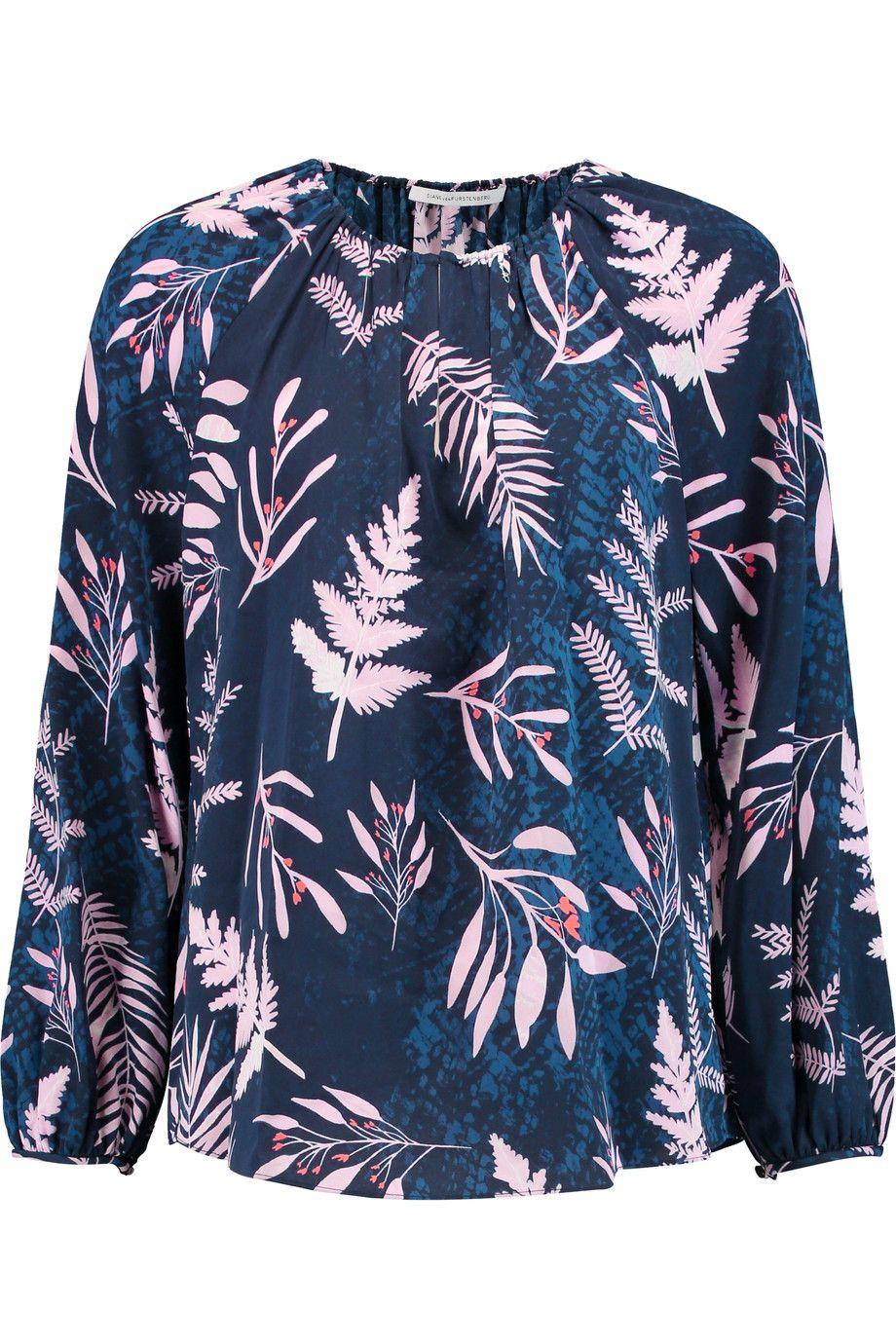 DIANE VON FURSTENBERG Marnie printed silk-blend blouse. #dianevonfurstenberg #cloth #blouse