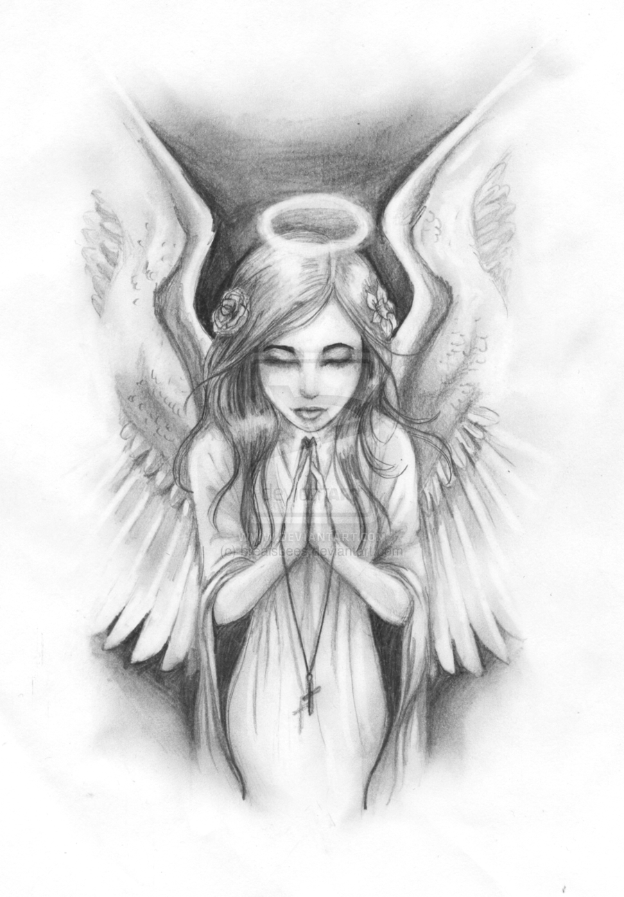 Female Guardian Angel Drawing : female, guardian, angel, drawing, Tattoo