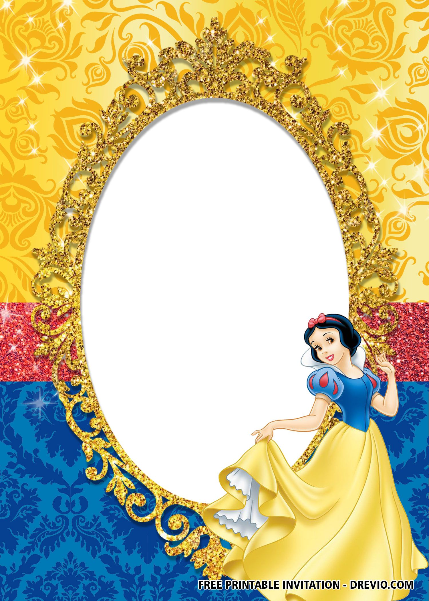 FREE Princess Snow White Invitation Templates  Snow white
