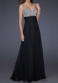 Black Patchwork Sequin Grenadine Condole Belt Zipper Fashion Maxi Dress