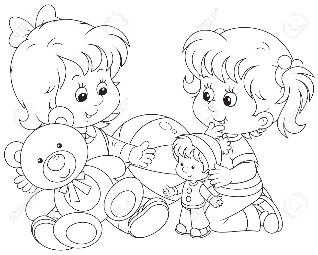 Clipart Black And White Children Playing With Toys