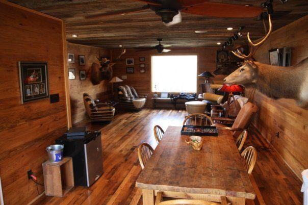 Antique Barnboard Oak Flooring In A Quot Man Cave Quot Hunting Lodge Www Appalachianwoods Com Man Cave Man Room Flooring