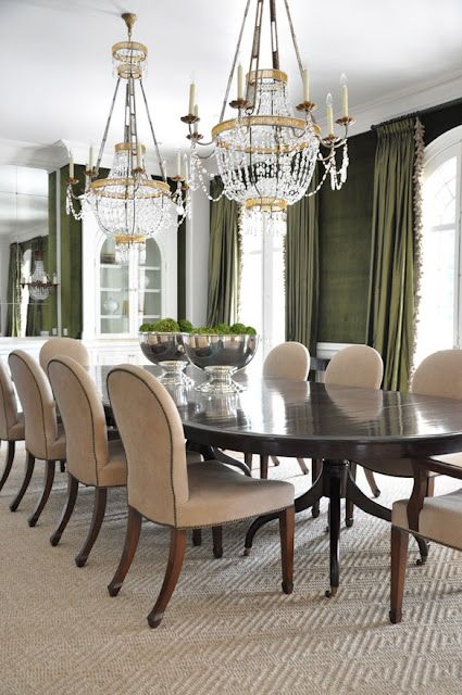 Pretty Dining Room Without Accessory Overload Would Replace The 2 Bowls Under Chandeliers