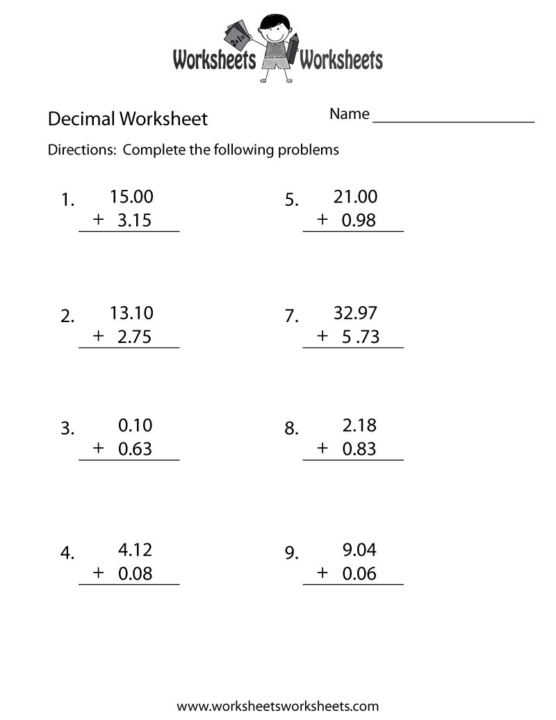 Math Worksheets Adding And Subtracting Decimals Scalien – Adding and Subtracting Decimal Worksheet
